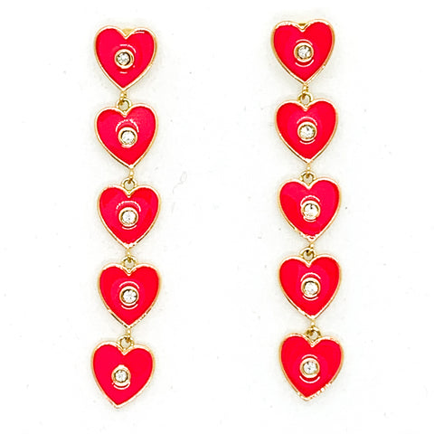 I Heart You Earrings - Fuchsia