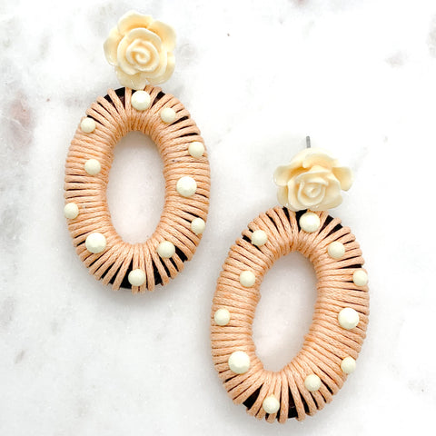Rosey Wrapped Earrings - Tan