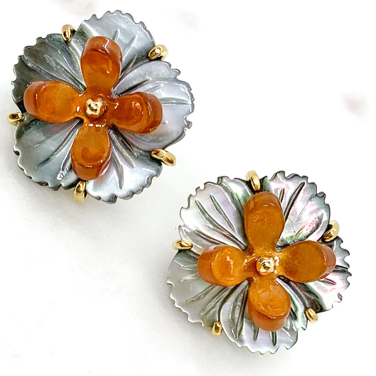 Flower and Resin Stud Earrings - Orange