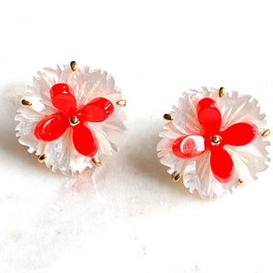Flower and Resin Stud Earrings - White/Red