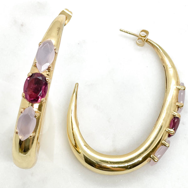 QuayL Collection: Tapered Oval Hoops in Pinks
