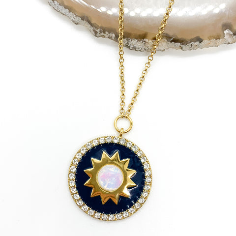 Shine Bright Necklace in Navy Blue