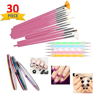 Sgm Nail Art Paint Kit , 15 Pieces Nail Art Paint Brushes With 5 Pieces 2 Way Marbleizing Dotting Pen And 5 Pieces Assorted Colors Nail Striping Tape - shoper2shoper.com