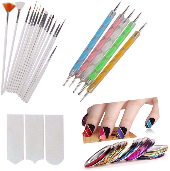 Plastic Nail Art Paint Kit (Random Colour) - Set of 31 Pieces - shoper2shoper.com