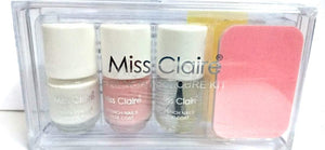 Miss Claire French Manicure Kit for Nails(French white and pink, top coat, 10 piece nail tip stickers and file and finger separator) - shoper2shoper.com