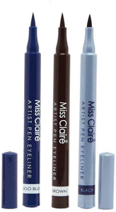 Miss Claire Artist Sketch Pen Eyeliner Set Of 3 (BLACK, BROWN & INDIGO BLUE) | The Best Professional Liquid Colour Eye Liners - shoper2shoper.com