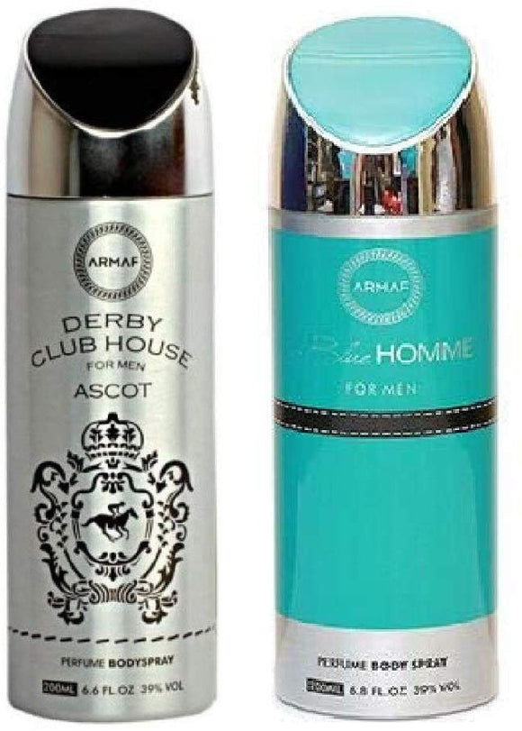 Armaf Derby Club House Ascot & Blue Homme Perfume Body Spray for Men- (200ml Each) - shoper2shoper.com