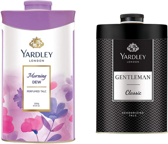 Yardley London Morning Dew Perfumed Talc for Women, 250g and Yardley London Gentleman Talcum Powder, 250g - shoper2shoper.com