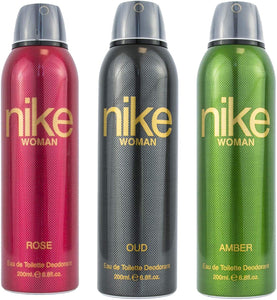 Nike Rose + Oud + Amber Deodorant For Woman- Pack Of 3 (200ml Each) - shoper2shoper.com