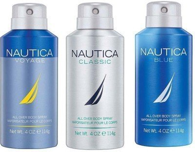 Nautica Classic, Voyage and Blue Deodorizing Body Spray for Him (Pack of 3) - shoper2shoper.com