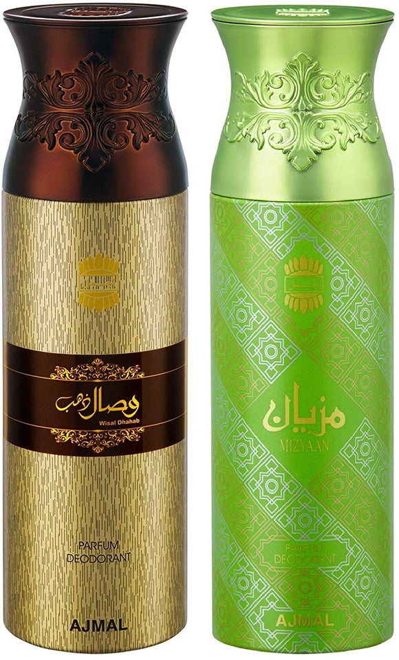 Ajmal WisalDhahab and Mizyaan Deodorants for Men and Women - Pack of 2 - shoper2shoper.com