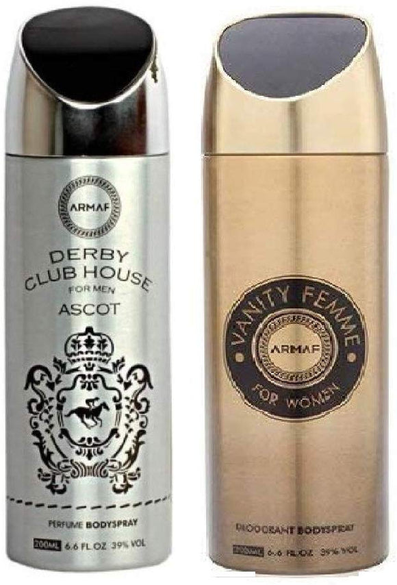 Armaf Derby Club House Ascot for Men & Vanity Femme for Women Perfume Body Spray - (200ml Each) - shoper2shoper.com
