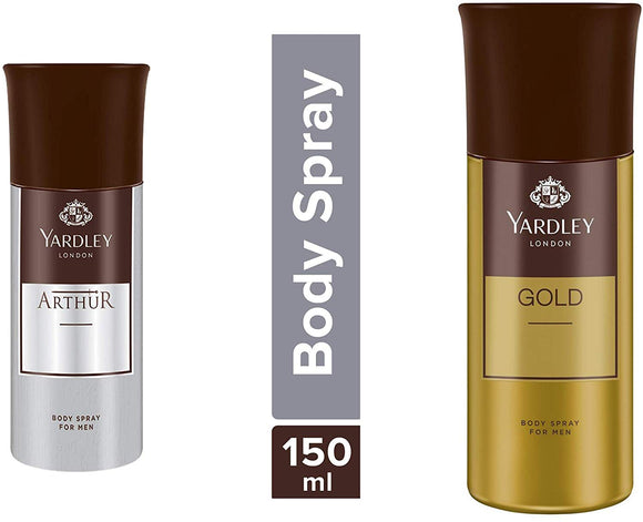 Yardley London Arthur Body Spray For Men, 150ml and Yardley London Gold Body Spray For Men, 150ml - shoper2shoper.com