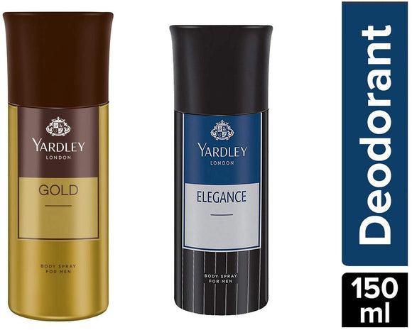 Yardley London Gold Body Spray For Men, 150ml and Yardley London Elegance Deo For Men, 150ml - shoper2shoper.com