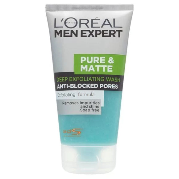 L'Oreal Men's Expert Pure & Matte Deep Exfoliating Face Wash,150 mL - shoper2shoper.com