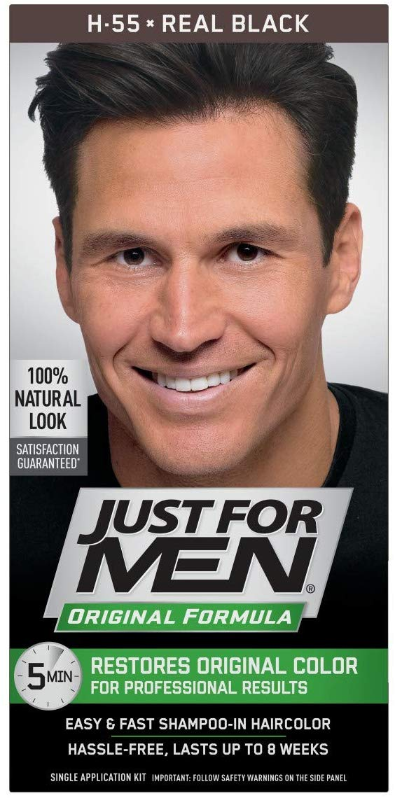 Just for Men Later-in Hair Color H-55 Real Black 1 Each - shoper2shoper.com