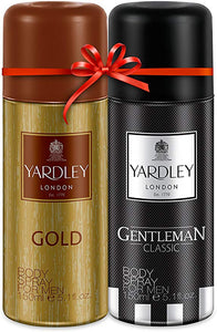 Yardley Men Deo Twinpack Gold + Gentleman Deo, 150 ml X 2 Deo - shoper2shoper.com