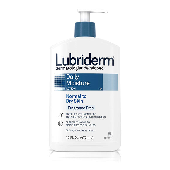Lubriderm Daily Moisture Lotion for Normal to Dry Skin, Fragrance Free, 16 Ounce (Packaging May Vary) - shoper2shoper.com