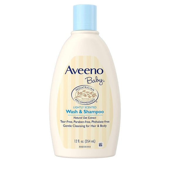 Aveeno Baby Gentle Wash & Shampoo with Natural Oat Extract, Tear-Free & Paraben-Free Formula For Hair & Body, Lightly Scented, 12 fl. oz - shoper2shoper.com