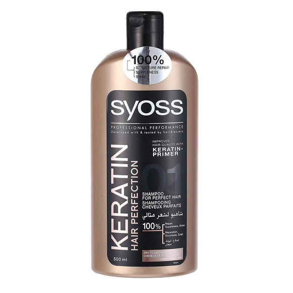 Syoss Keratin Hair Perfection Shampoo for Perfect Hair 500 mL with Free Ayur Soap by Schwarzkopf - shoper2shoper.com