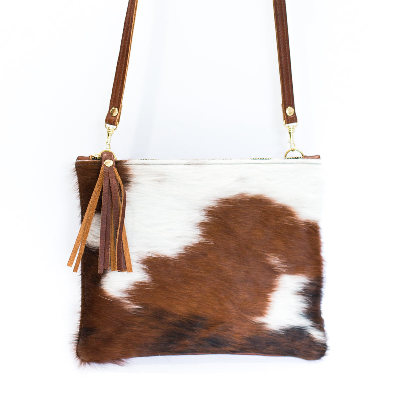 Brown & White Crossover Leather Bag