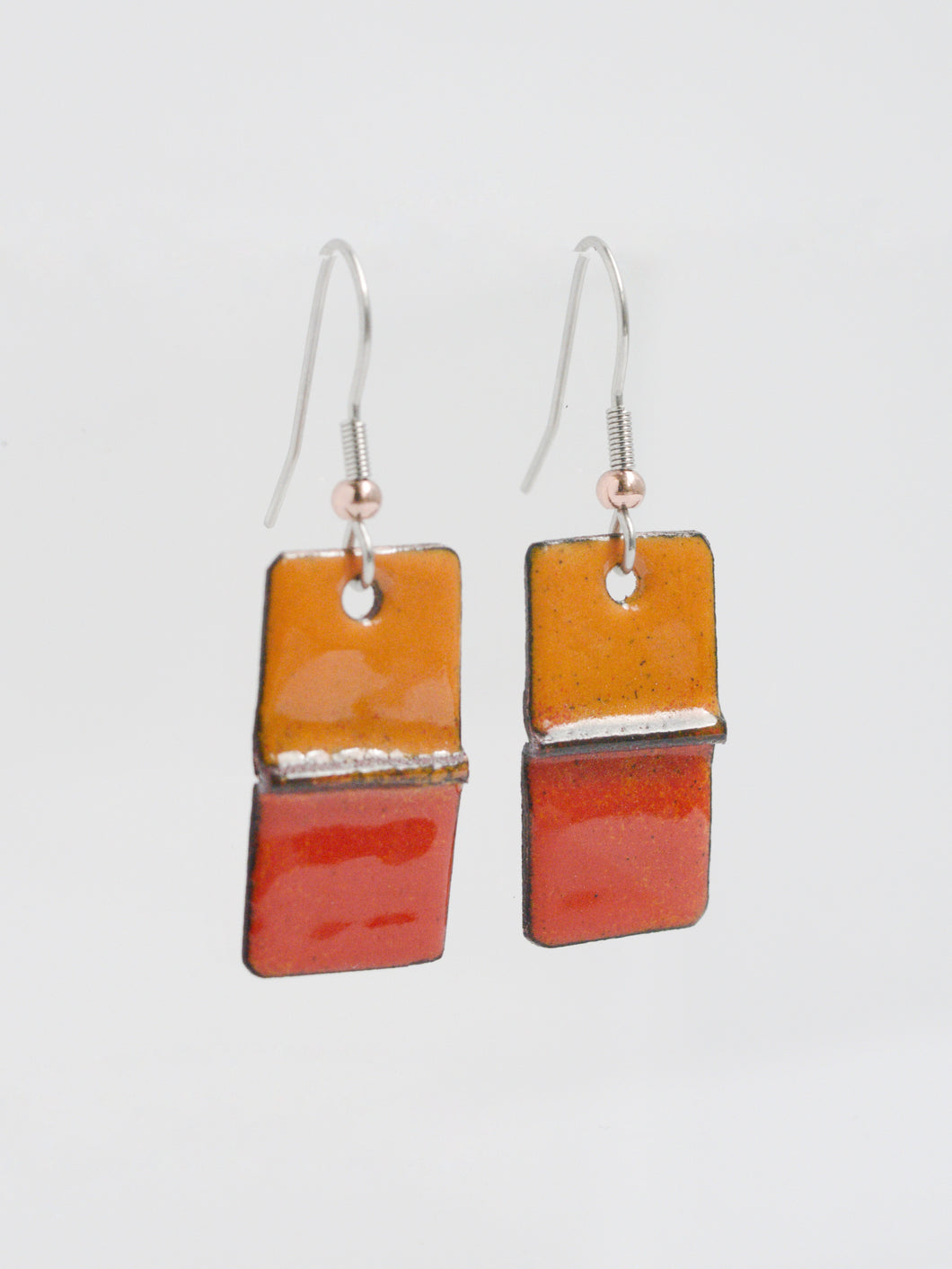 Red & Orange Rectangle Copper Enamel Earrings