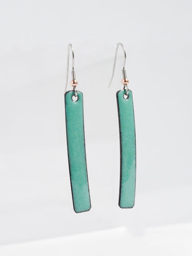 Turquoise Stix Copper Enamel Earrings