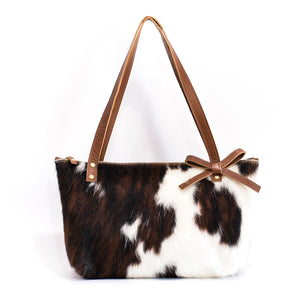 Brown & White Naomi Leather Handbag