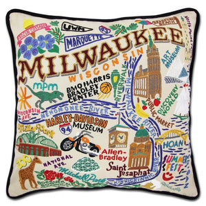 Milwaukee Hand Embroidered Pillow by Catstudio
