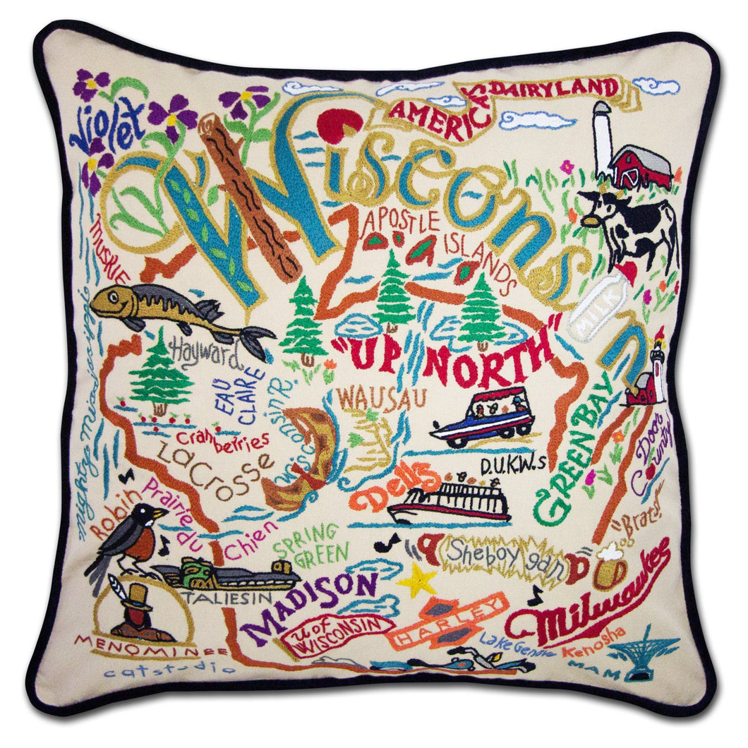 Wisconsin State Pillow by Catstudio