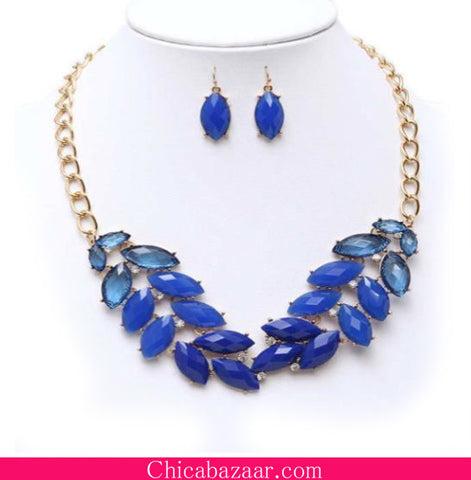 Blue Resin Gem Garland Statement Necklace and Earrings