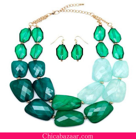 Green Translucent Briolettes Bib Necklace and Earrings