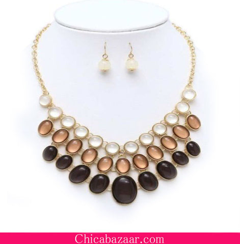 Tri-Color Multi Layer Crystal Bib Necklace and Earrings