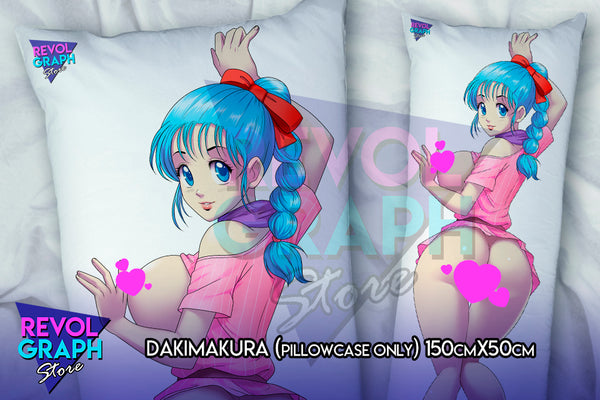 Dakimakura, Fullbody pillow case - Bulma pink dress (Dragon Ball) 2 sides printed