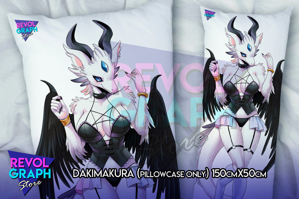 Dakimakura, Fullbody pillow case - White Dragon in Black Sexy Lingerie (Covergirl's original Furry design) NSFW