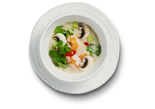 14. Tom Kha: Suppe på kokosmælk, citrongræs, rejer & chili.