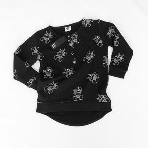 CHILDRENS GENDER NEUTRAL SWEATER | MONOCHROME RHINO PRINT