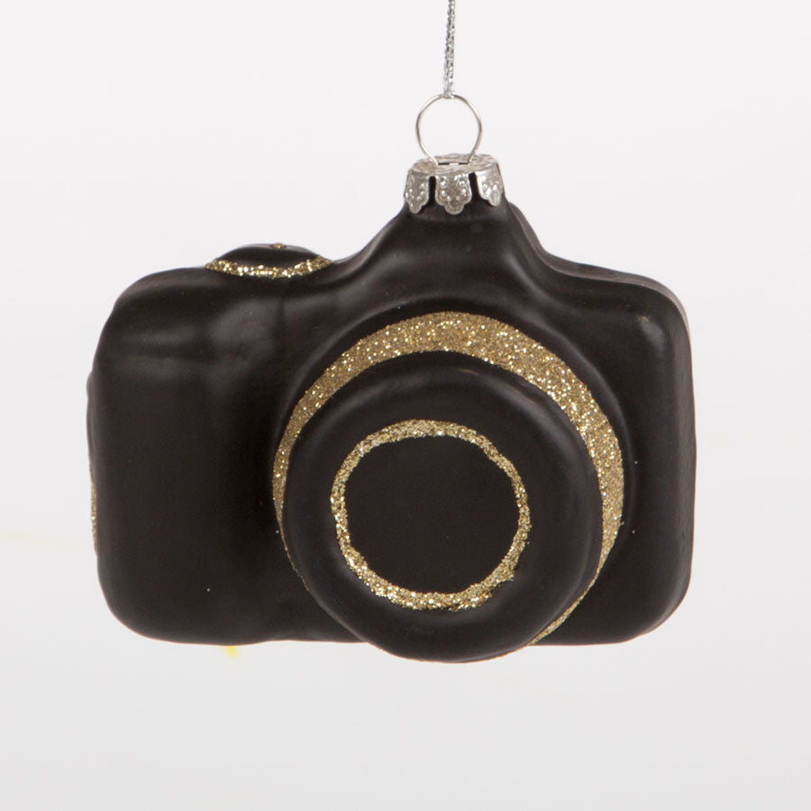 black and gold glitter camera hanging tree decoration