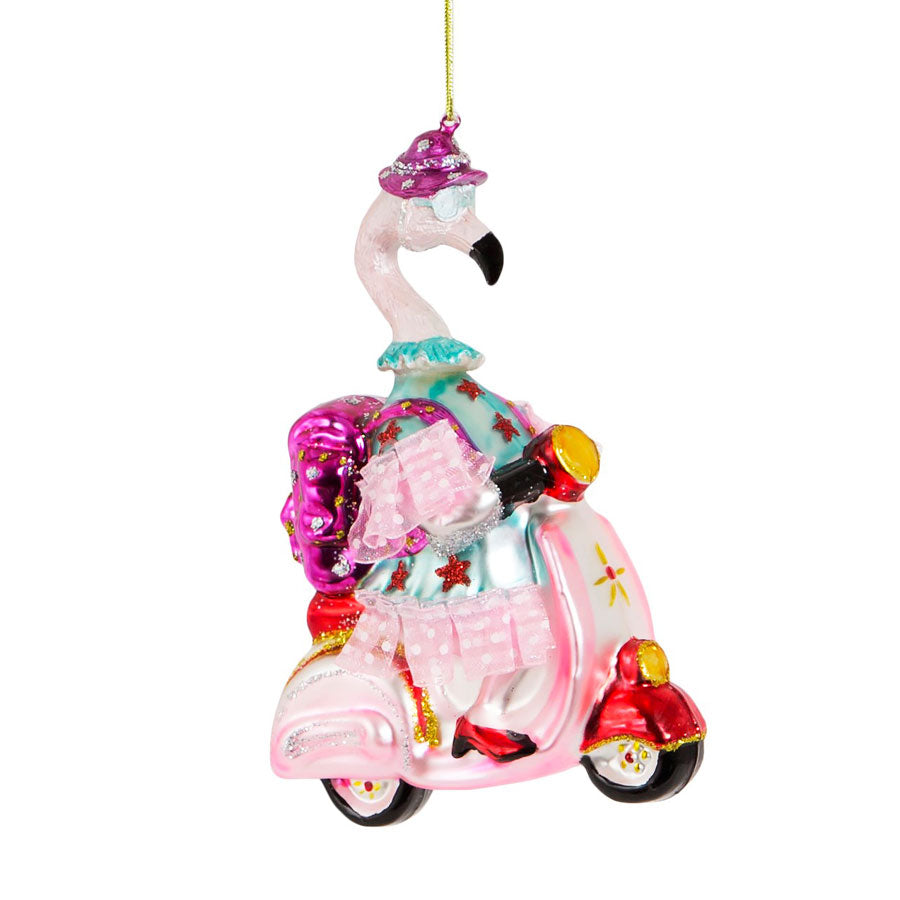 granny flamingo on a scooter hanging Christmas decoration