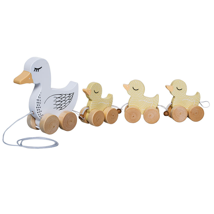 childrens wooden pull along ducks toy