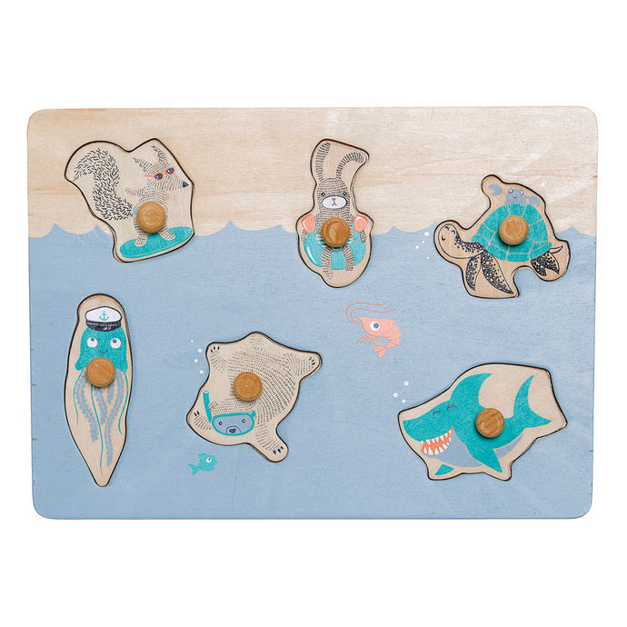 childrens wooden puzzle with sea creatures