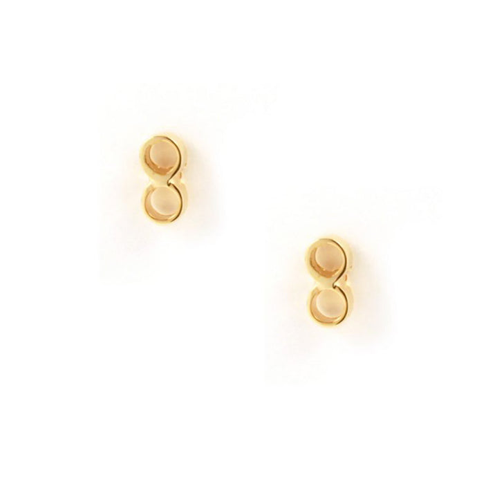 Tiny double tube studs designed by Matthew Calvin consisting of two tiny tubes linked together. Hand finished and gold plated