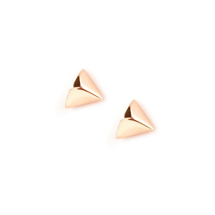 Trim studs designed by Matthew Calvin. These triangular shaped studs look like little rounded pyramids and have a stylish and modern look. They are hand finished and rose gold plated