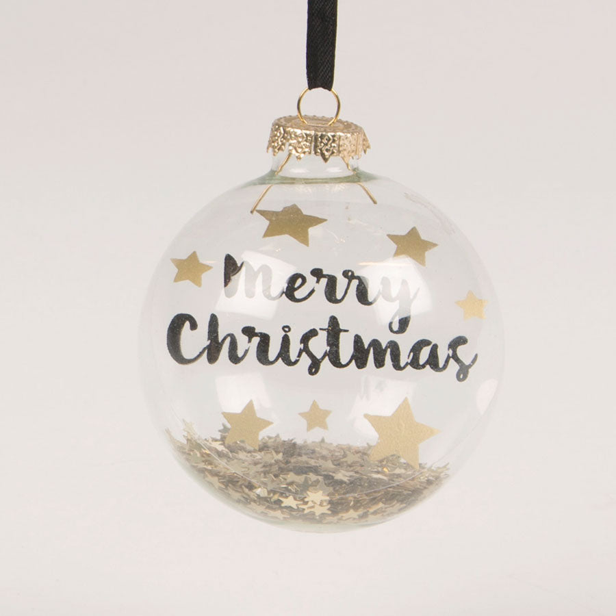 black and gold clear glass merry Christmas bauble