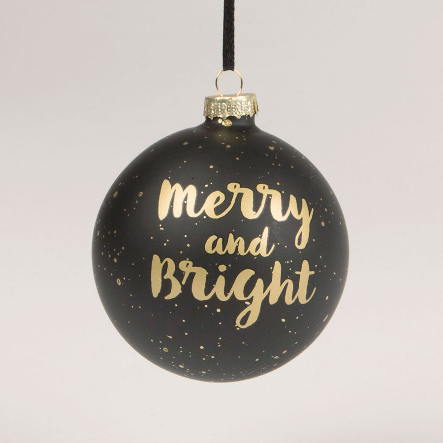 black and gold glam merry & bright Christmas bauble