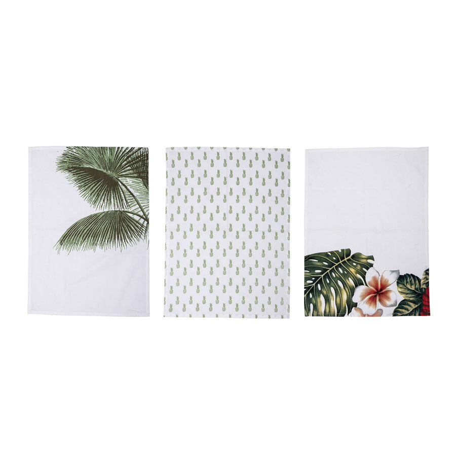 set of 3 Aruba teatowels with green and white pineapple print. From Bloomingville