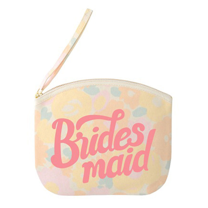 Floral pouch with the word Bridesmaid printed in a hand lettering style in pink on the front