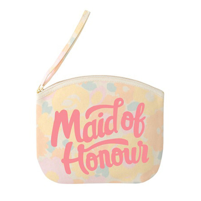 A floral canvas pouch with the words maid of honour printed in pink in a hand drawn style