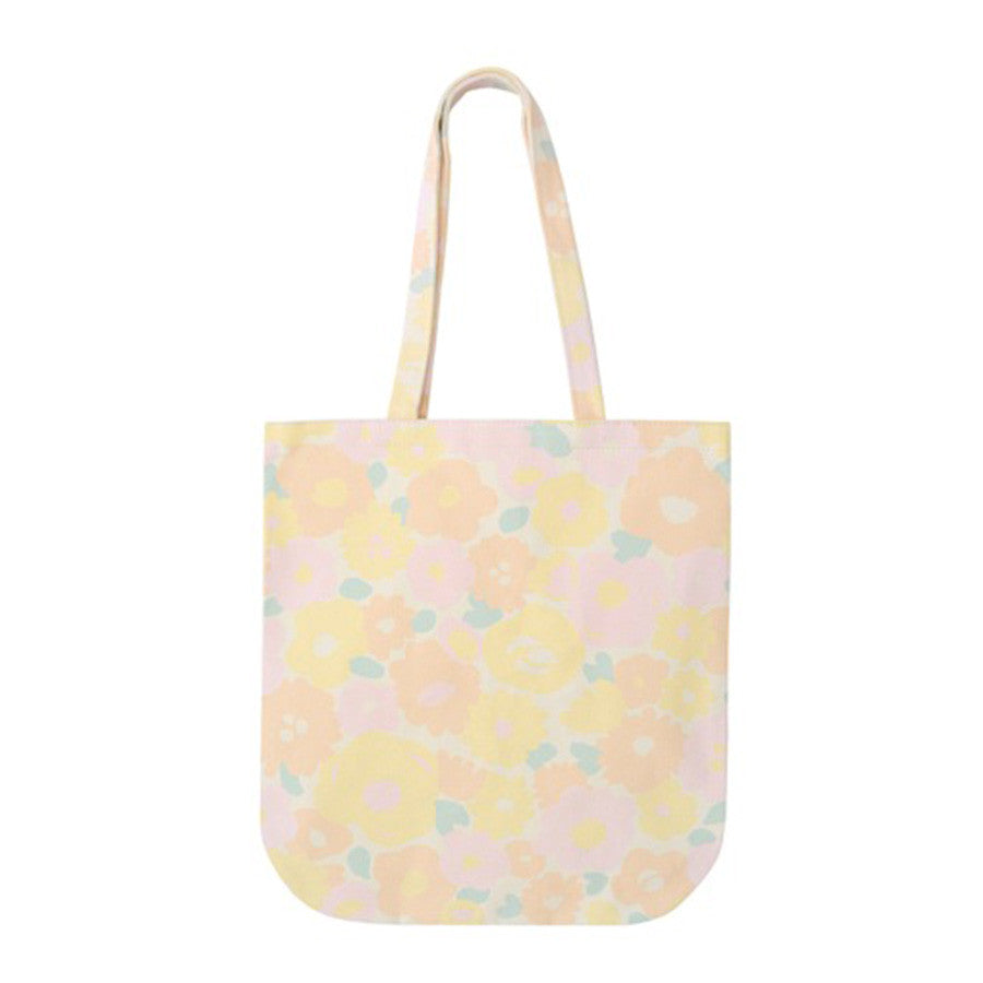 A pastel coloured floral canvas tote bag