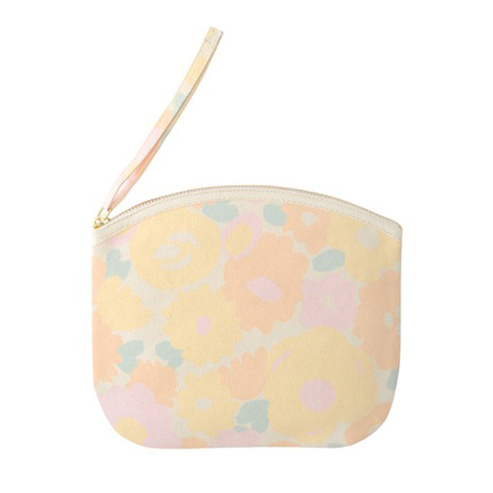 A pastel coloured floral canvas pouch